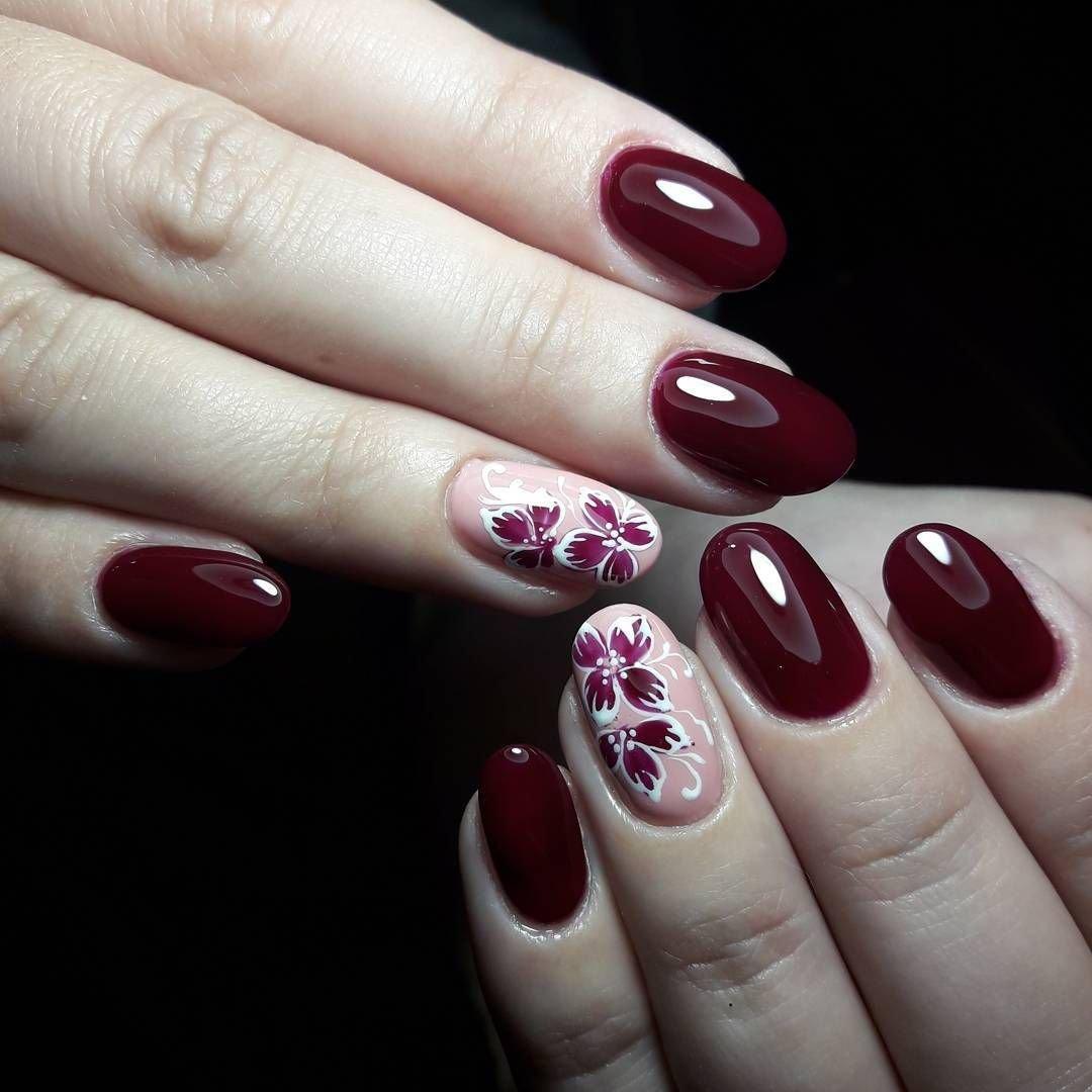 Дизайн ногтей в бордовом цвете фото