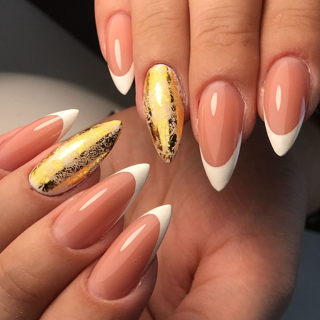 Золотой френч ? эффектный и модный дизайн ногтей в фотографиях   Красота