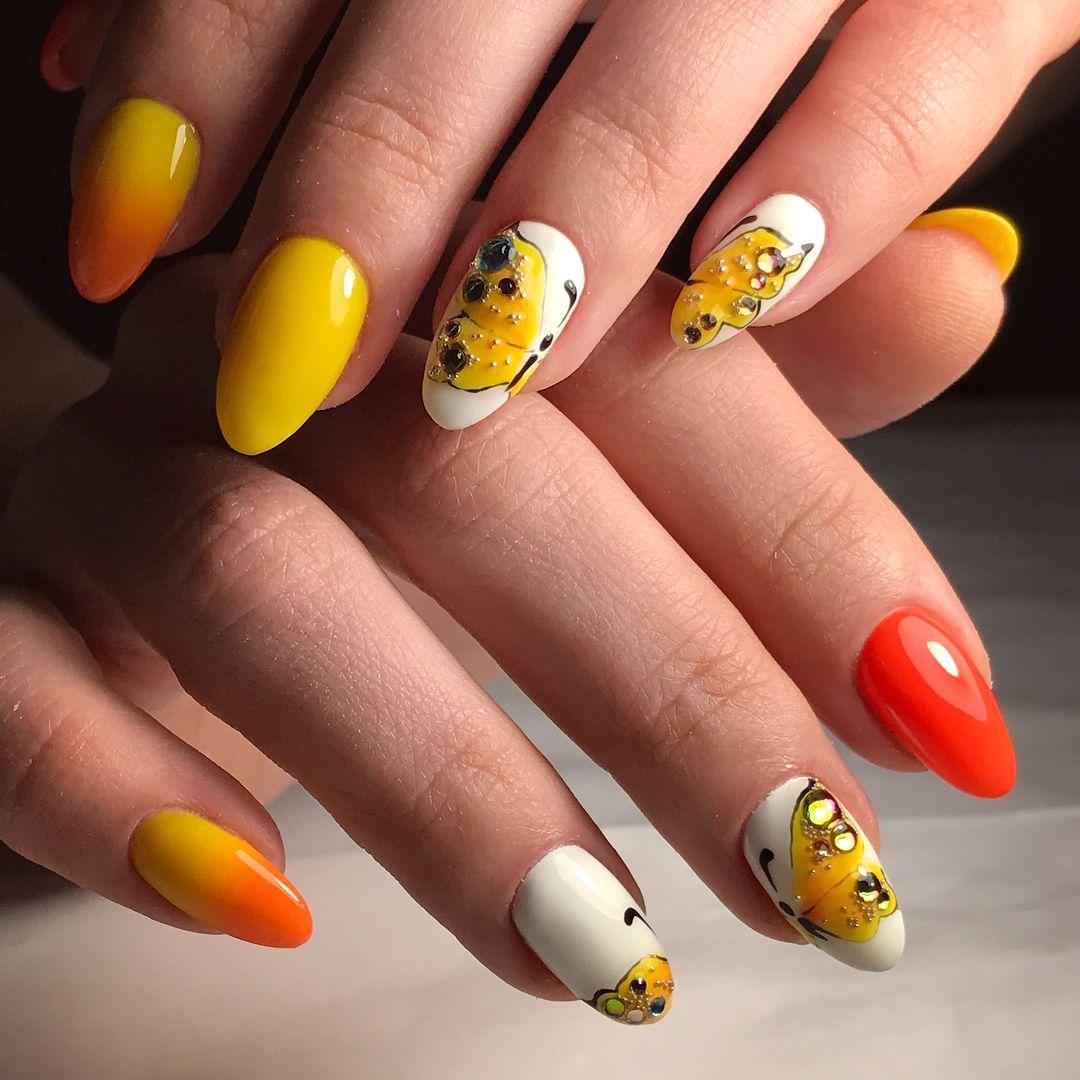 дизайн ногтей фото канарейка