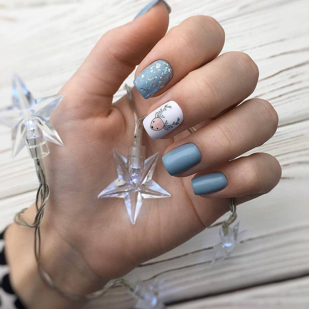Идеи маникюра на короткие ногти зима