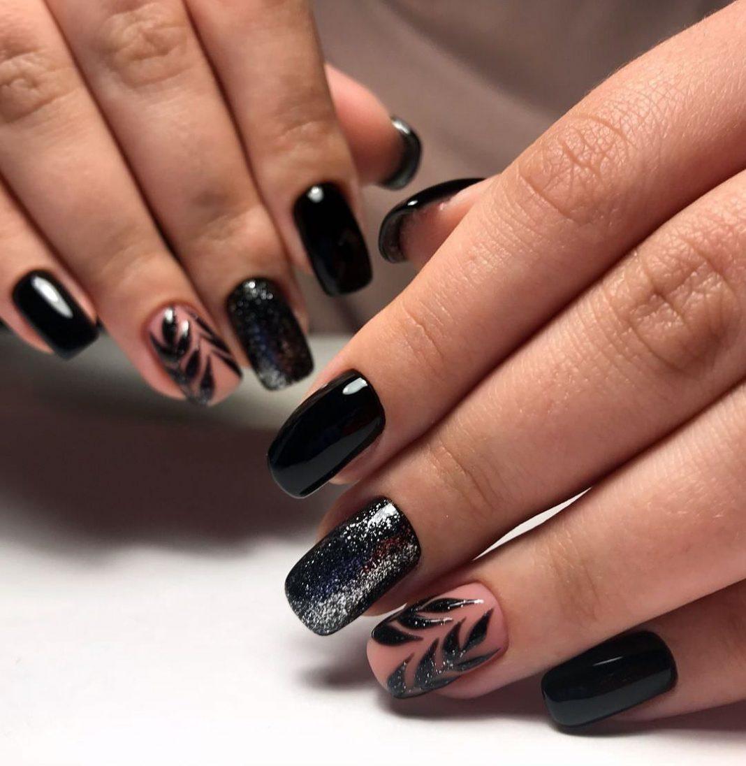 Дизайн черных ногтей 2019 фото
