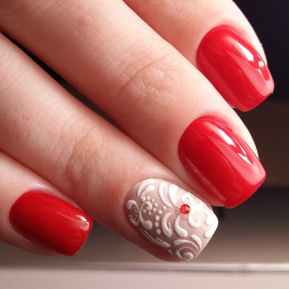 Гель лак красный на короткие ногти фото