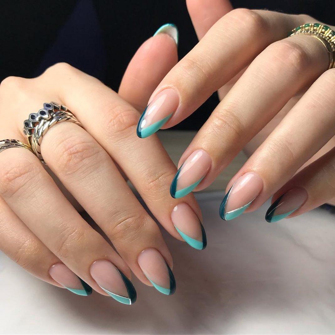 Миндалевидная форма ногтей дизайн френч фото