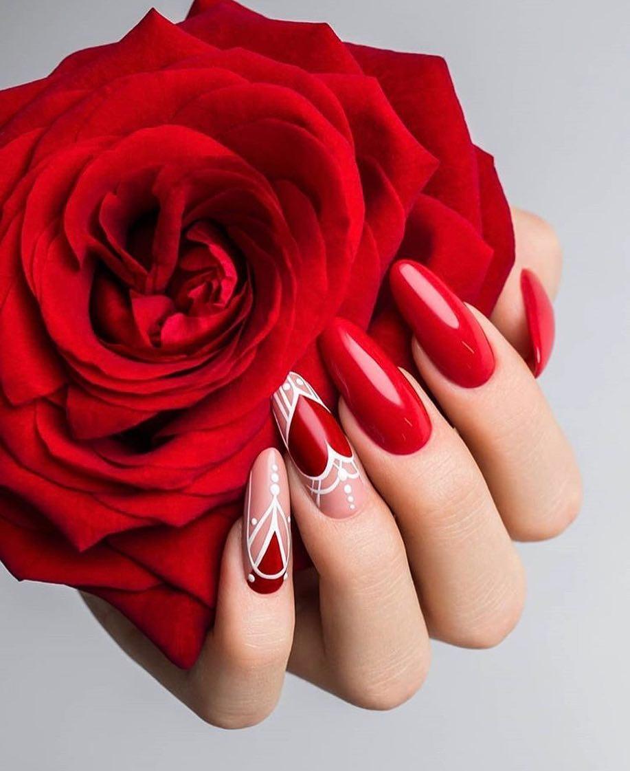 В картинках ногти дизайн с красным