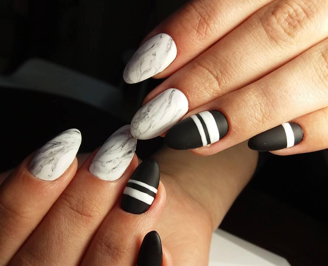 Картинки бело черные ногти