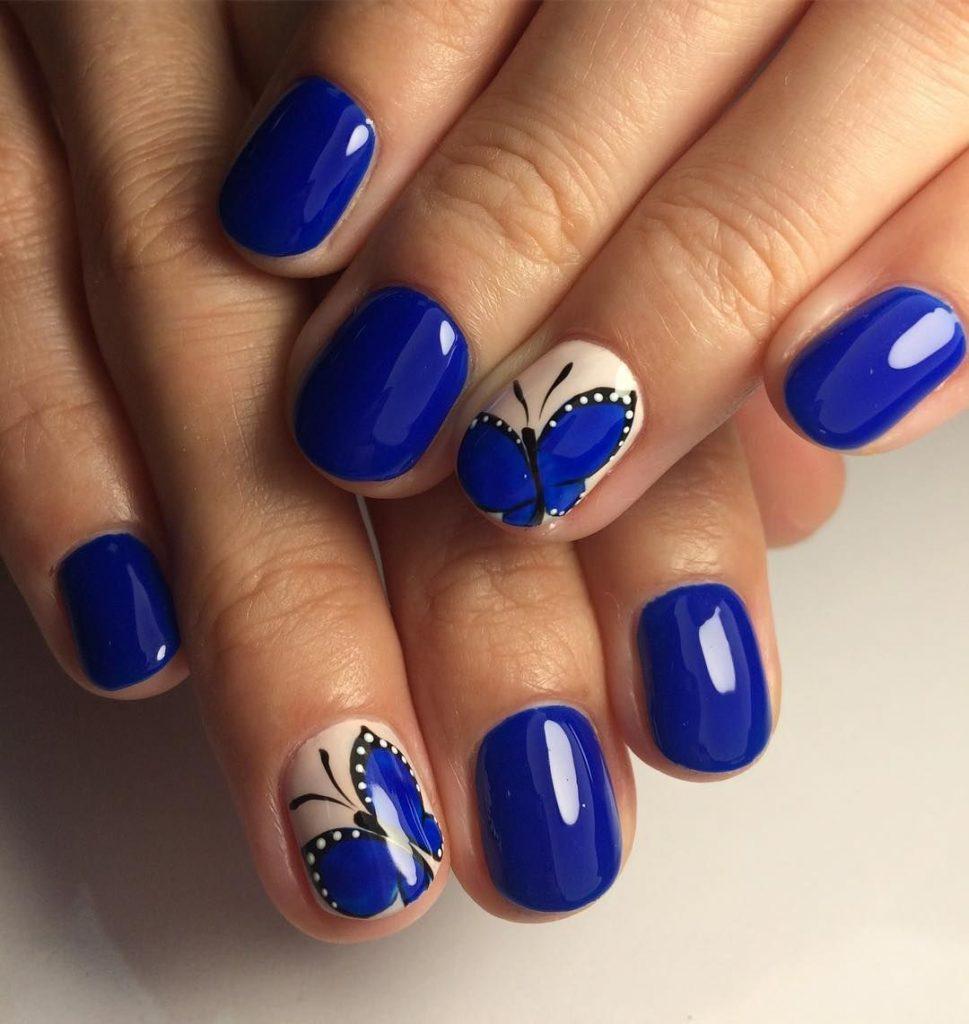 Дизайн ногтей синего цвета гель фото