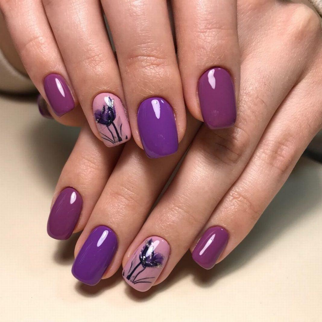 Фиолетовый маникюр (100 фото): сочетание цветов, модные..