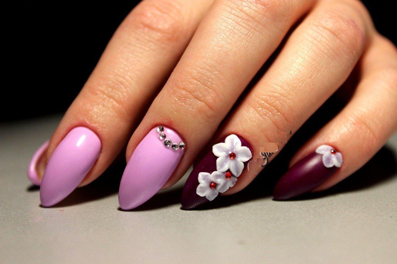 Красивые цветы на ногтях фото