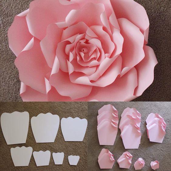 Как сделать большие цветы из бумаги для украшения зала схемы