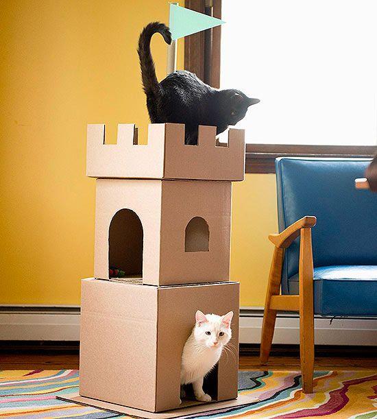 Как сделать из картона дом для кошек
