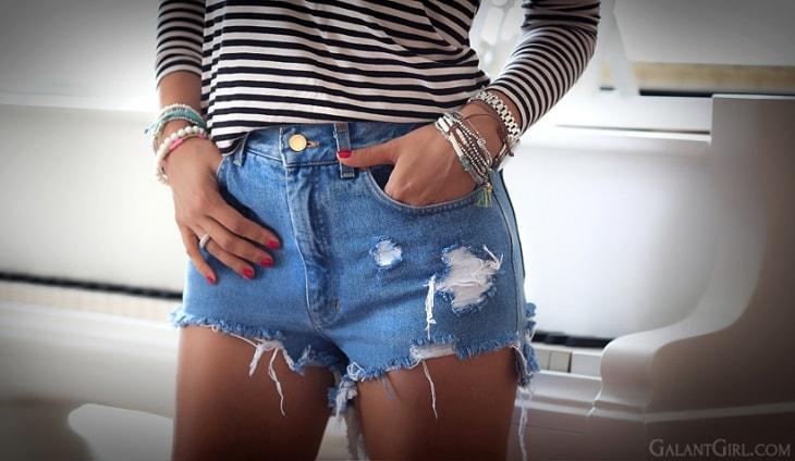 Как сделать красивый шорты из джинс 922