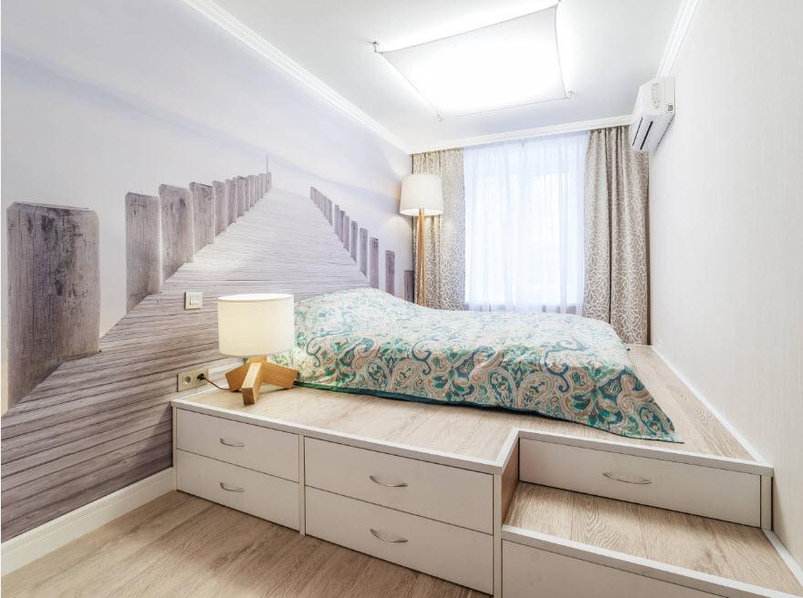 Фото дизайн спальни на подиуме