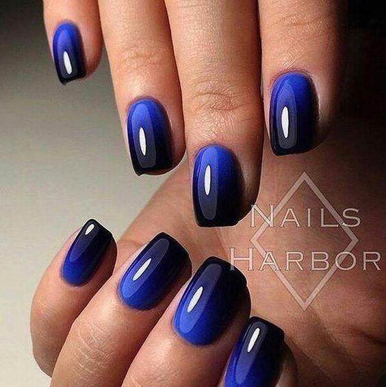 Ногти дизайн синий с черным