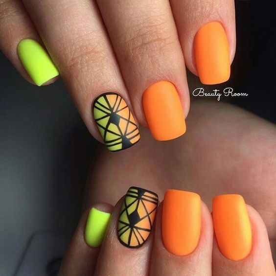 Оранжевые ногти дизайн 2017-2018 новинки
