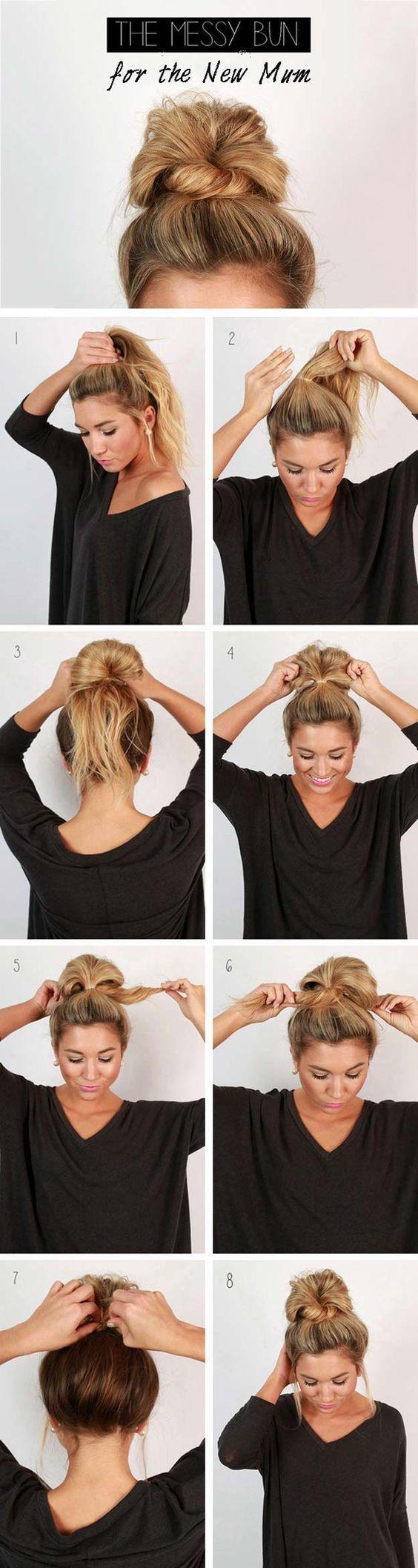 Как сделать модный пучок из средних волос