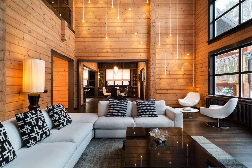 Интерьер деревянного дома внутри фото зала