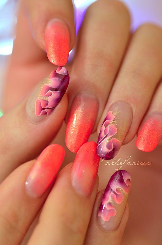 Фото красивых рисунков на ногтях коралловые 108