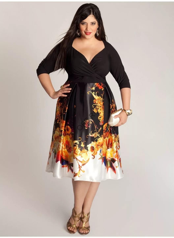 Платья для полных женщин с цветами