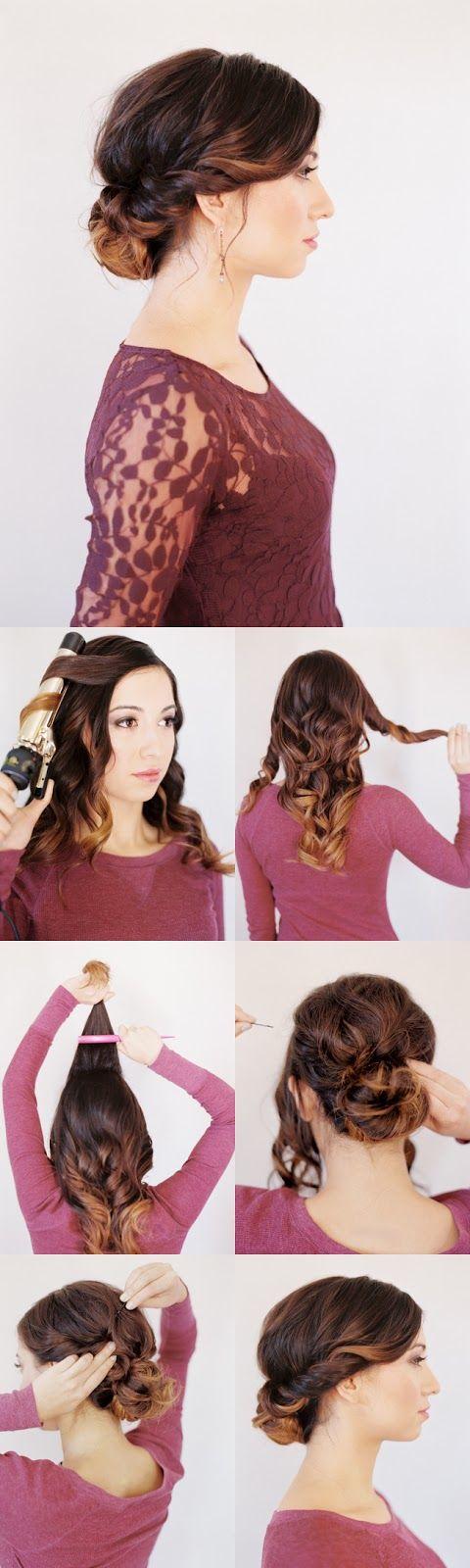 Причёска на средние волосы своими руками 21