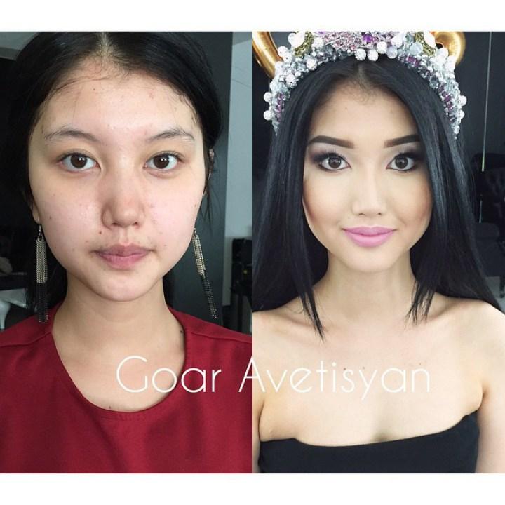 Фото девушка без макияжа и с макияжем