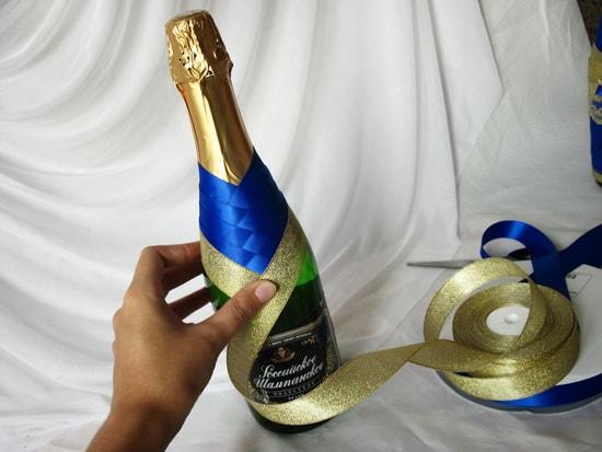 Оформление бутылок шампанского лентами своими руками