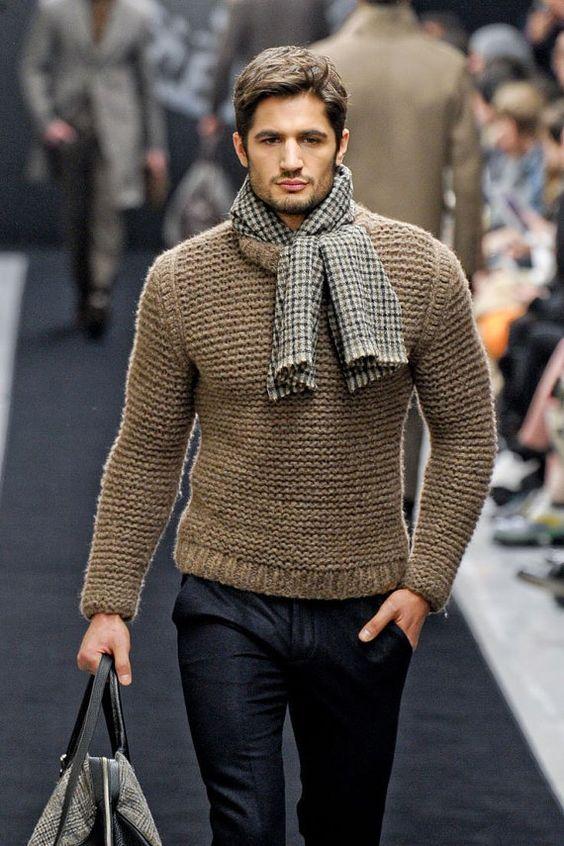 Вязанная мужская модная