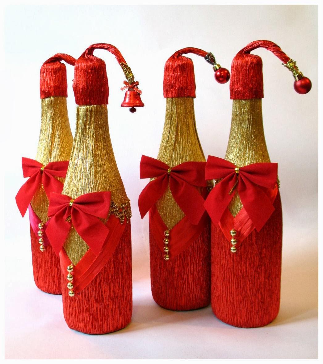 Украшаем бутылку шампанского к Новому Году / украшение 62