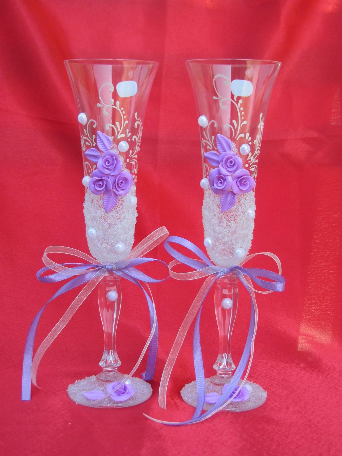 Украшение свадебных бокалов своими руками Свадебный 58