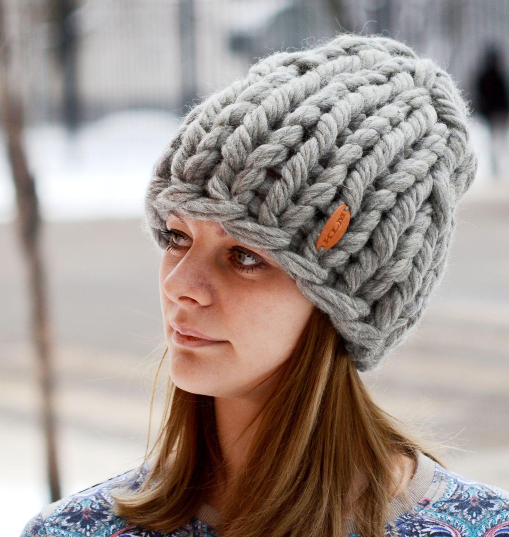 Вязание крупными спицами шапка