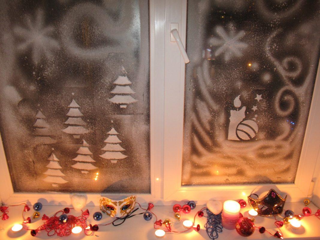Чем рисовать окна на новый год