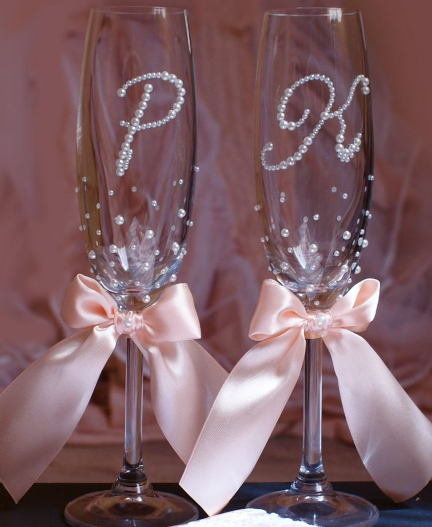Как украсить бокалы на свадьбу своими руками пошагово 28