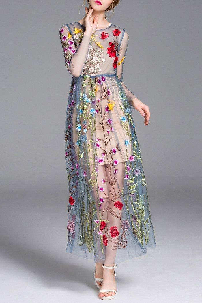 Платье с вышивкой на сетке 60