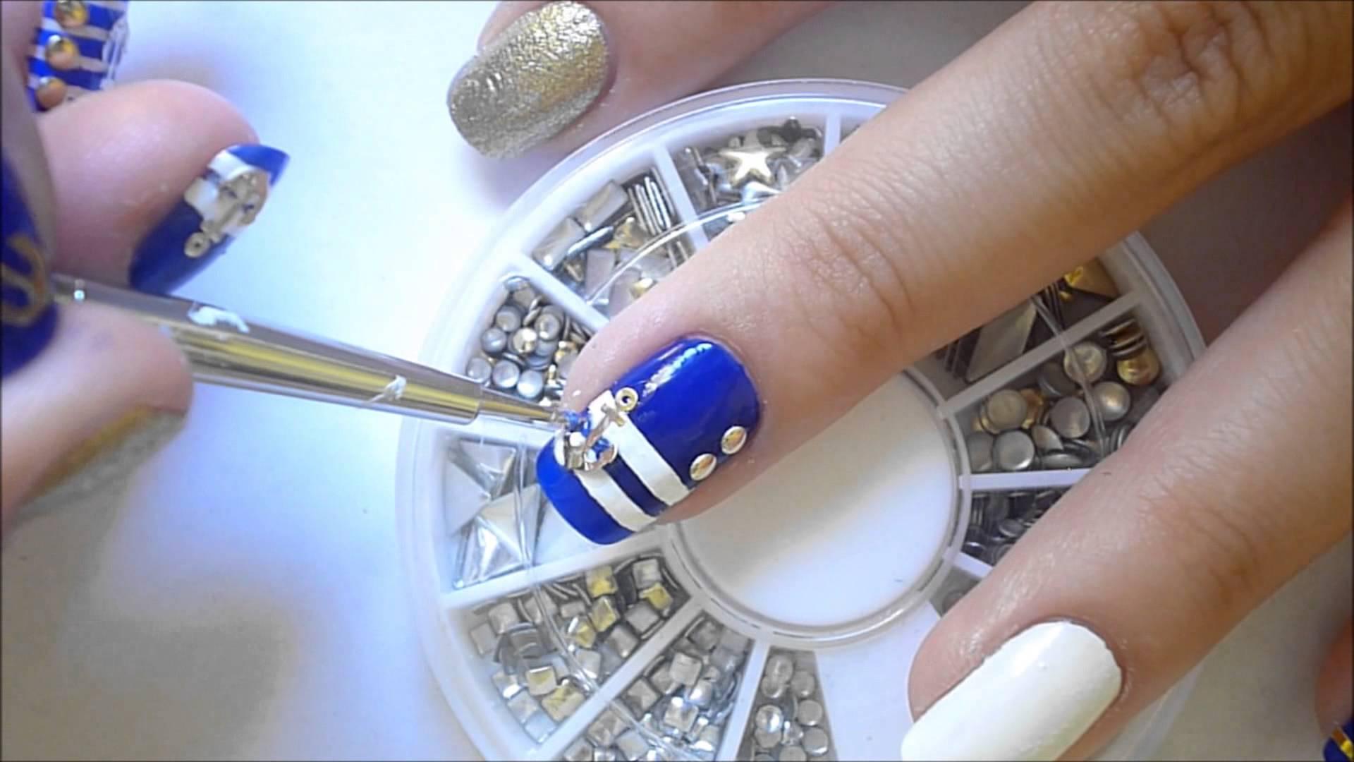 Нарисовать якорь на ногтях фото
