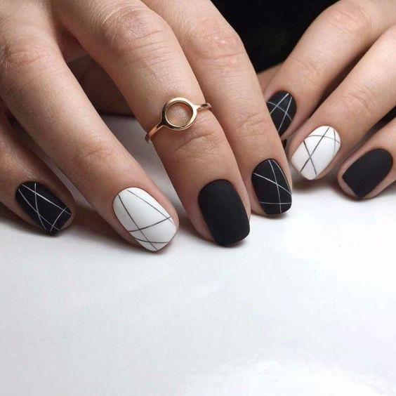 Маникюр 2018 модные тенденции черное и белое