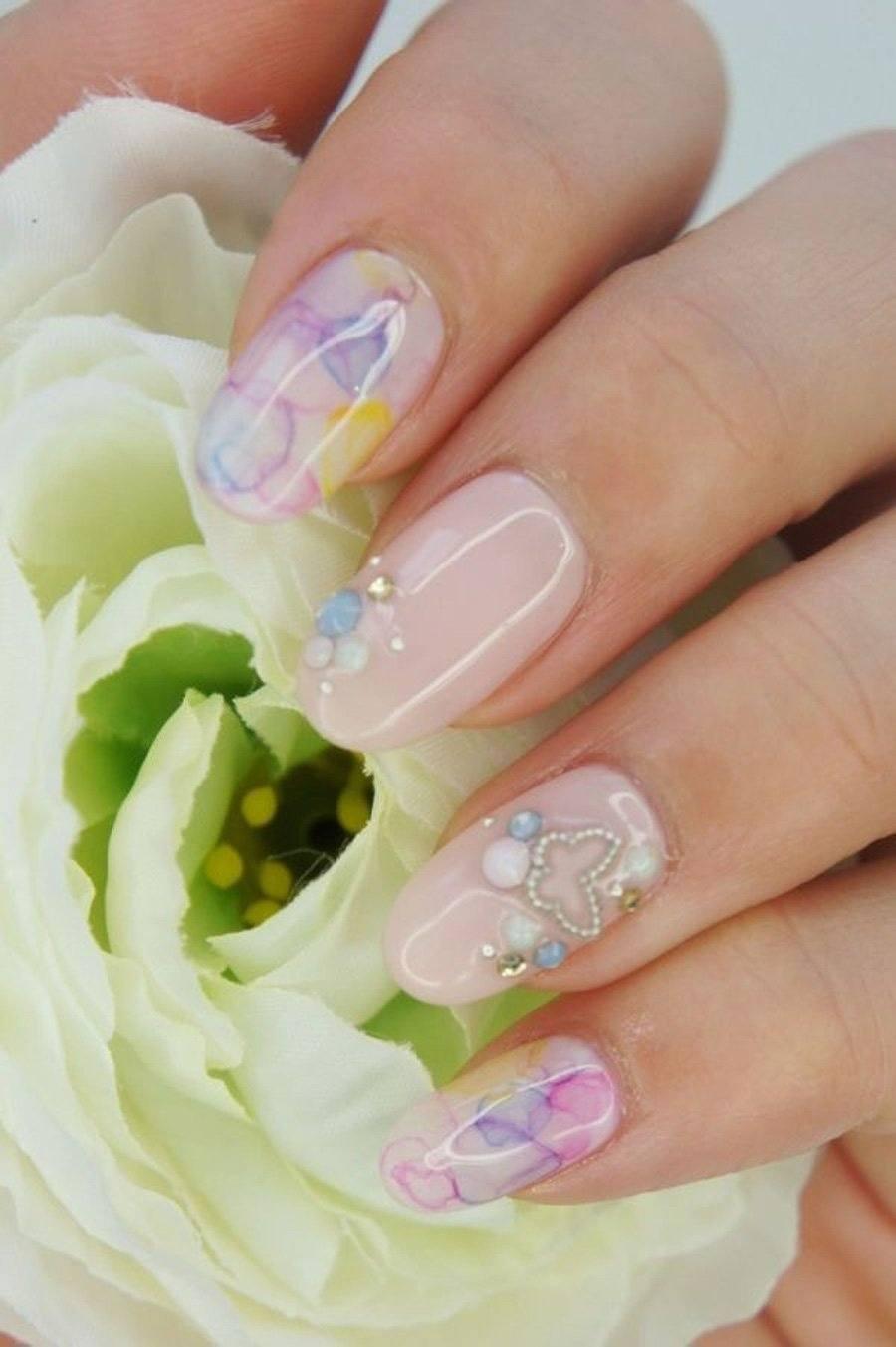 Фото розовые свадебные ногти