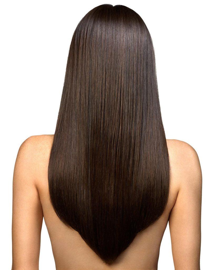 Стрижка полукругом на длинные волосы вид сзади