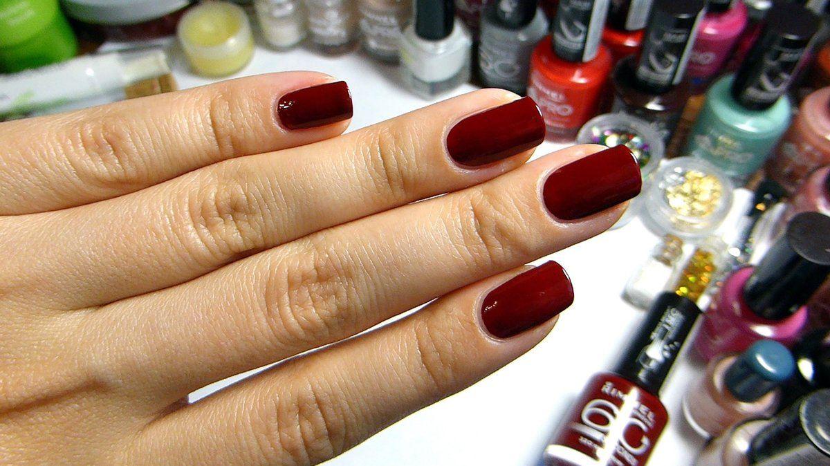 Алый цвет лака для ногтей фото дизайн