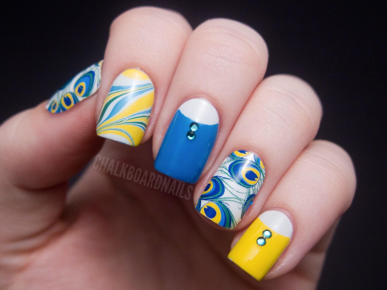 Желтый и синий цвет на ногтях фото