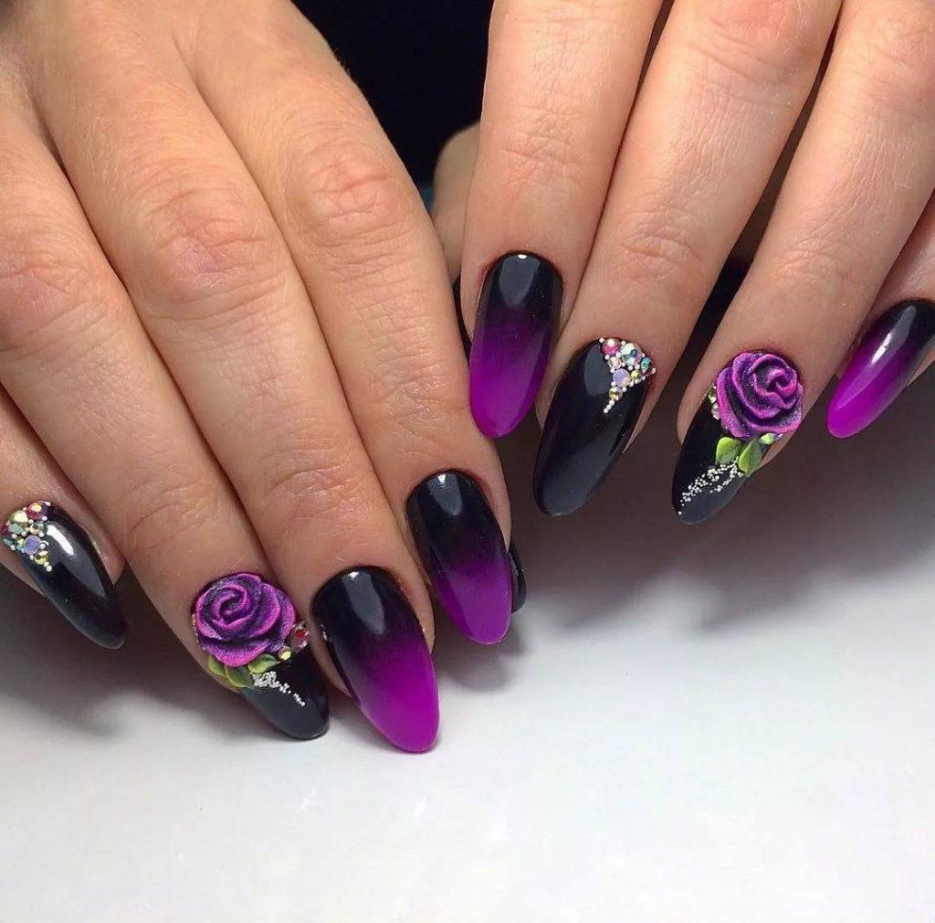 Цветы на длинных ногтя фото