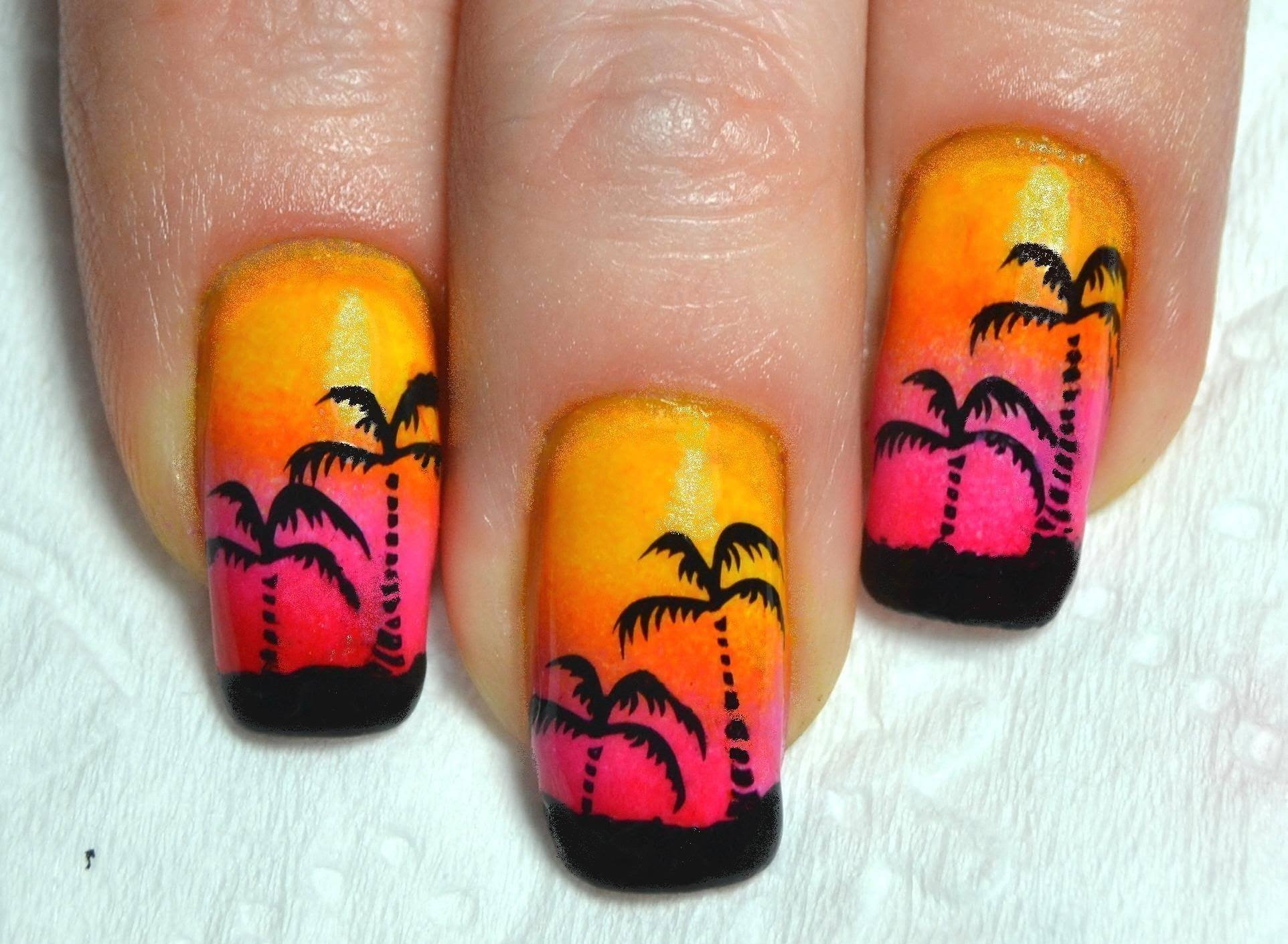 Ногти с пальмами фото