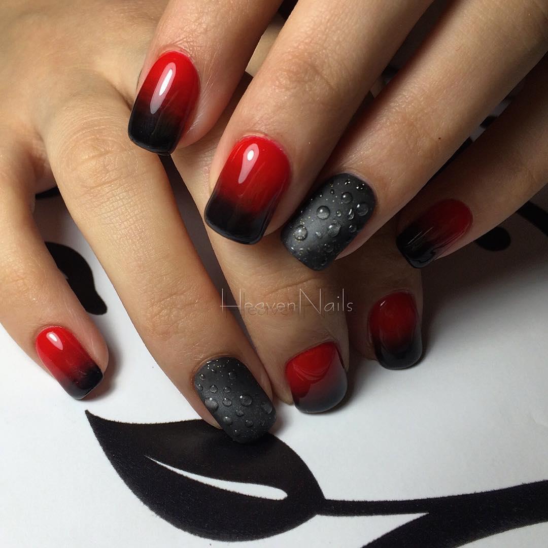Шеллак Красный С Черным Дизайн Фото Ногтей